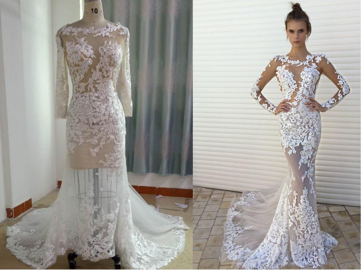 Berta Inspired Long Sleeve Lace Wedding Dress From Darius