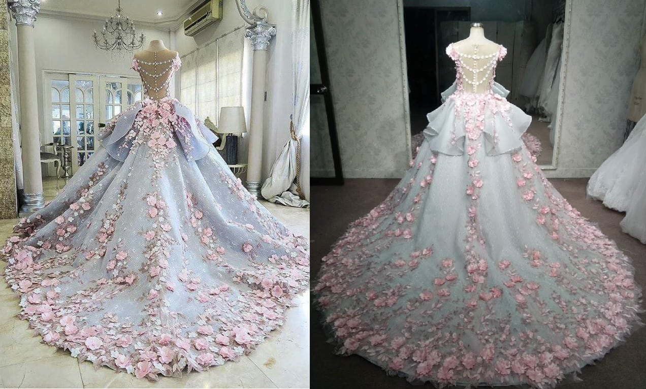 Pink And Grey Plus Size Off The Shoulder Wedding Gown From