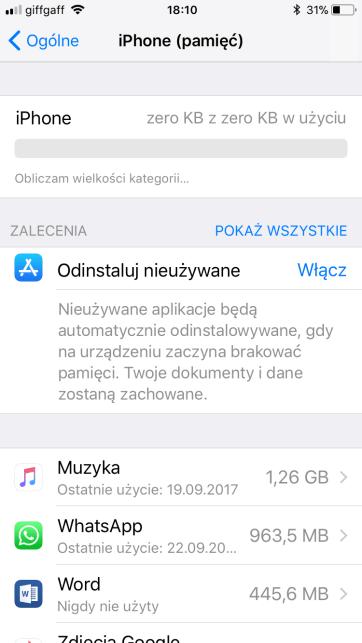 iPhone (pamięć) lista
