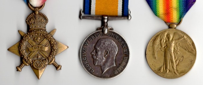 """The 1914 Star (""""Mons Star""""), War Medal and Victory Medals, awarded to Private Frederick Simon"""
