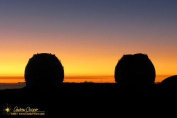 Sunset over the Keck telescopes