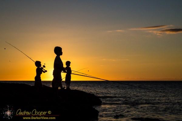Keiki Fishing at Anaehoʻomalu Bay