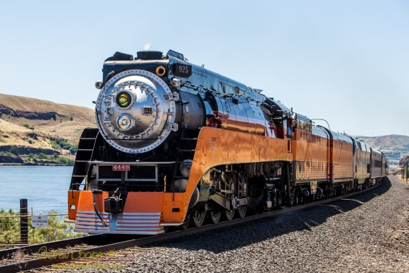 Locomotive 4449 under steam at Horsethief Lake