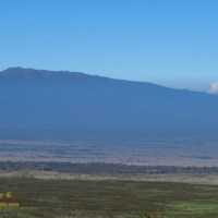 Hualālai peeks over a thick layer of volcanic smog, or vog
