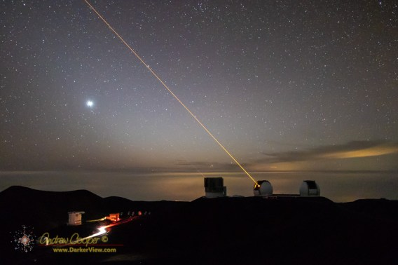 The Keck 1 AO laser working the sky in the direction of the galactic center