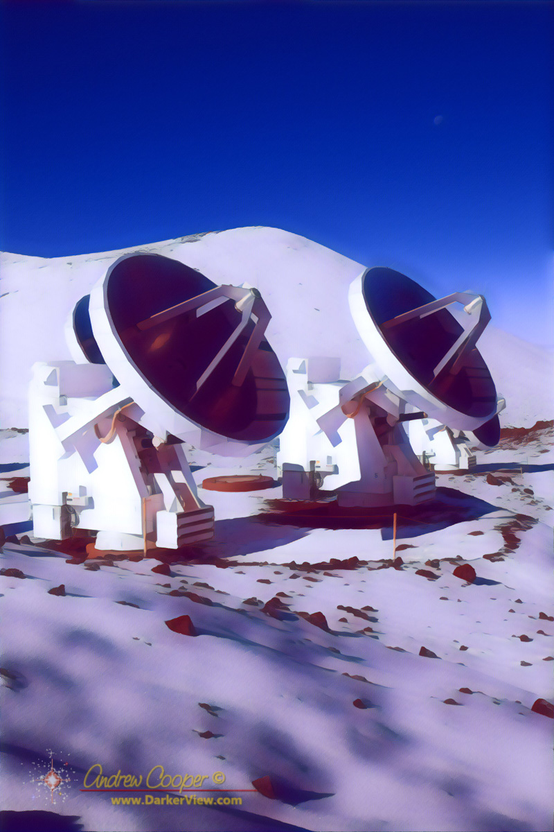 A pair of antennas of the Smithsonian Submillimeter Array in the snow