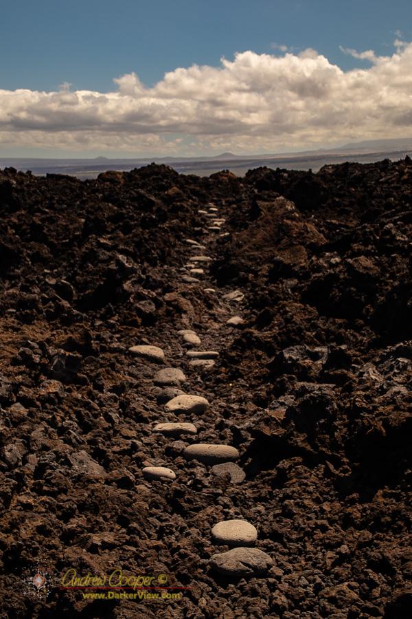 A traditional Hawaiian trail along the coast south of Kiholo Bay