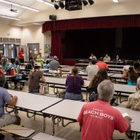 A public hearing on the proposed Mauna Kea Public Access Rules with Mr. Clarence Ching at the microphone, Waikoloa Elementary School, 5Jun2019