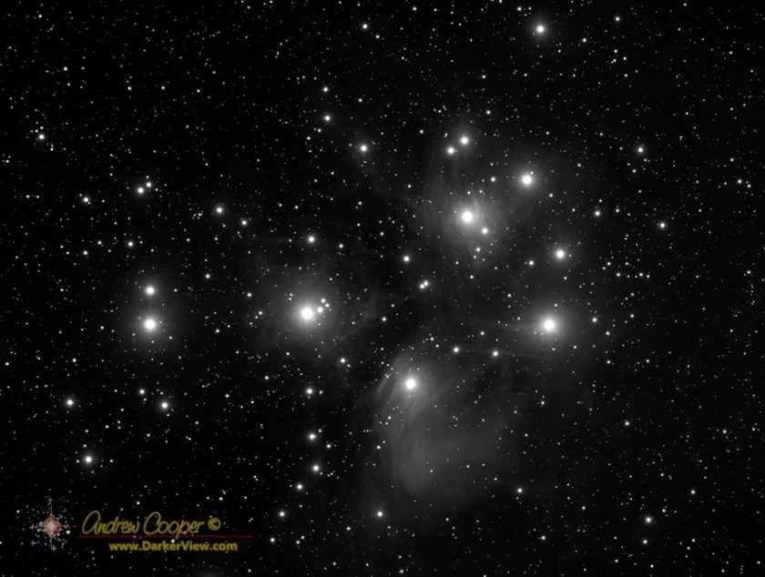 The Pleiades in  monochrome