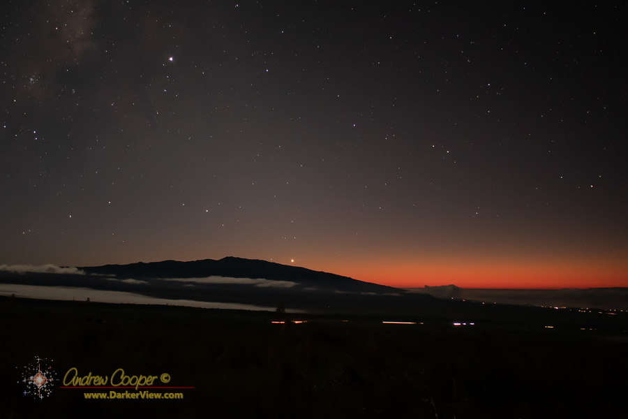The last glow of Sunset over Hualālai, with Venus just about to set behind the mauna and Jupiter high above.