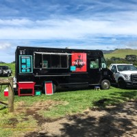 The Red Barn food truck serving up grilled sandwiches at the mid-week farmers market in Waimea