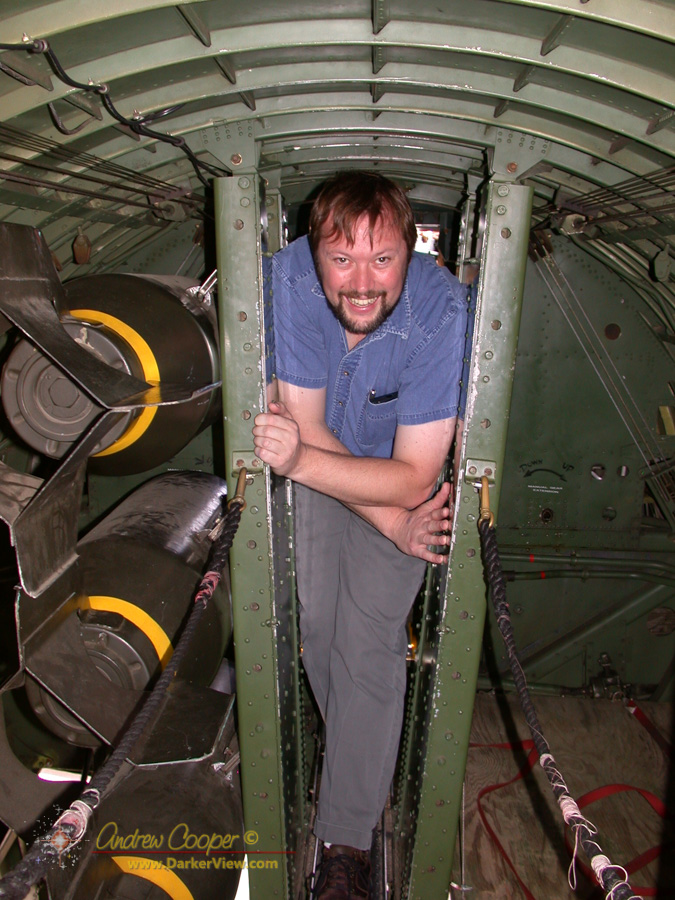Squeezing through the bomb-bay of B-17 Nine-O-Nine