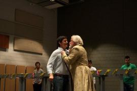 Alexander as Méphistophélès and Guy Bélanger as old Faust , rehearsal