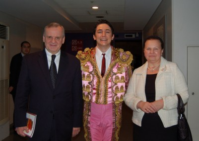 The Russian Ambassador couple and Alexander Vinogradov as Escamillo at the backstage