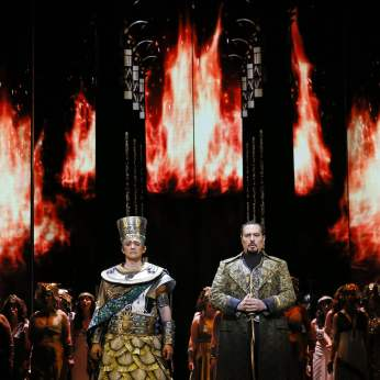 Photo Jeff Busby, Alexander as Ramfis and with Stefano La Colla as Radames