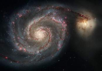 The graceful, winding arms of the majestic spiral galaxy M51 (NGC 5194) appear like a grand spiral staircase sweeping through space. They are actually long lanes of stars and gas laced with dust. This sharpest-ever image, taken in January 2005 with the Advanced Camera for Surveys aboard the NASA/ESA Hubble Space Telescope, illustrates a spiral galaxy's grand design, from its curving spiral arms, where young stars reside, to its yellowish central core, a home of older stars. The galaxy is nicknamed the Whirlpool because of its swirling structure. The Whirlpool's most striking feature is its two curving arms, a hallmark of so-called grand-design spiral galaxies. Many spiral galaxies possess numerous, loosely shaped arms that make their spiral structure less pronounced. These arms serve an important purpose in spiral galaxies. They are star-formation factories, compressing hydrogen gas and creating clusters of new stars. In the Whirlpool, the assembly line begins with the dark clouds of gas on the inner edge, then moves to bright pink star-forming regions, and ends with the brilliant blue star clusters along the outer edge. Some astronomers believe that the Whirlpool's arms are so prominent because of the effects of a close encounter with NGC 5195, the small, yellowish galaxy at the outermost tip of one of the Whirlpool's arms. At first glance, the compact galaxy appears to be tugging on the arm. Hubble's clear view, however, shows that NGC 5195 is passing behind the Whirlpool. The small galaxy has been gliding past the Whirlpool for hundreds of millions of years. As NGC 5195 drifts by, its gravitational muscle pumps up waves within the Whirlpool's pancake-shaped disk. The waves are like ripples in a pond generated when a rock is thrown in the water. When the waves pass through orbiting gas clouds within the disk, they squeeze the gaseous material along each arm's inner edge. The dark dusty material looks like gathering storm clouds. These dense clouds collapse, creati