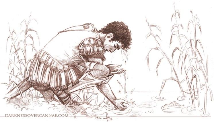 Hannibal washing in the Aufidus before he prays.