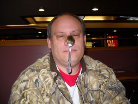 Evan with spoon on his nose
