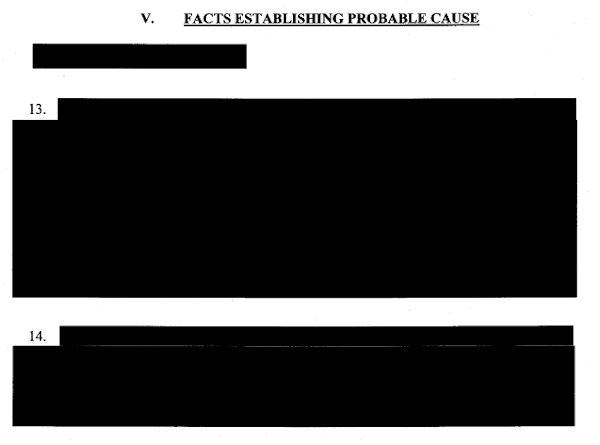 Redacted Section of the Criminal Complaint