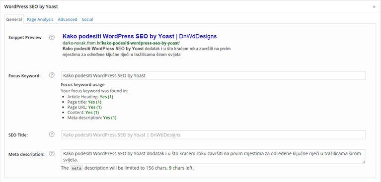 SEO YOAST - optimizacija sadržaja