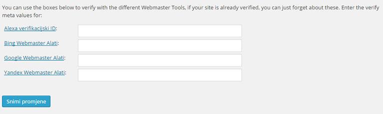 Webmaster tools i YOAST