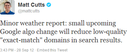 Exact Match Domain - EMD Matt Cutts tweets