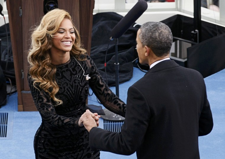Beyonce is greeted by U.S. President Barack Obama after her performance during inauguration ceremonies. January, 2013.