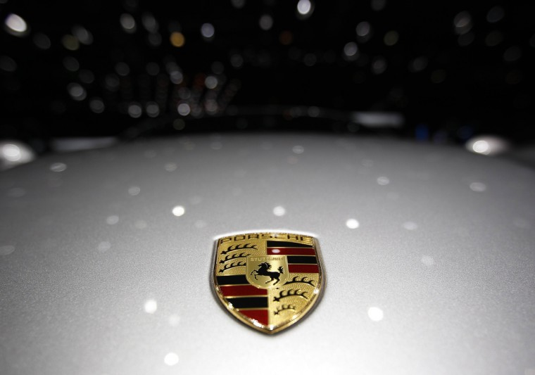 A Porsche logo is pictured on a car during the second media day of the 83rd Geneva Car Show at the Palexpo Arena. (Denis Balibouse/Reuters photo)