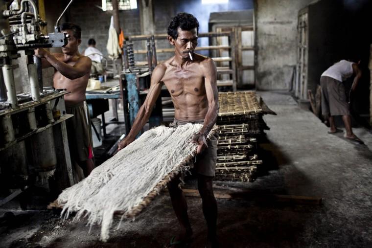 Работник имеет лапшу готовить на пару в Srandakan деревни, Bantul 22 мая 2013 года в Джокьякарта, Индонезия. Ясир Feri Ismatrada взял на себя семейный бизнес производства Ми летек основанной его покойный дед. Одну тонну каменного цилиндр поворачивается на коров, чтобы молоть муку, технику редко можно увидеть сегодня. Ясир ставит большое значение на справедливое отношение к своим 40 сотрудникам управления прибыли ограничен на уровне 10%, приоритетности интересов персонала. Ми летек продаются за 8000 рупий или $ 80 центов за килограмм. (Ulet Ifansasti / Getty Images)