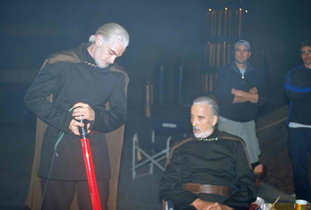 Christopher Lee and his stunt double from AoTC