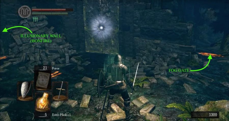 Darkroot Garden   Dark Souls Wiki Continue on until you see some stone walls  a pile of rubble and a stone  door with a glowing lock
