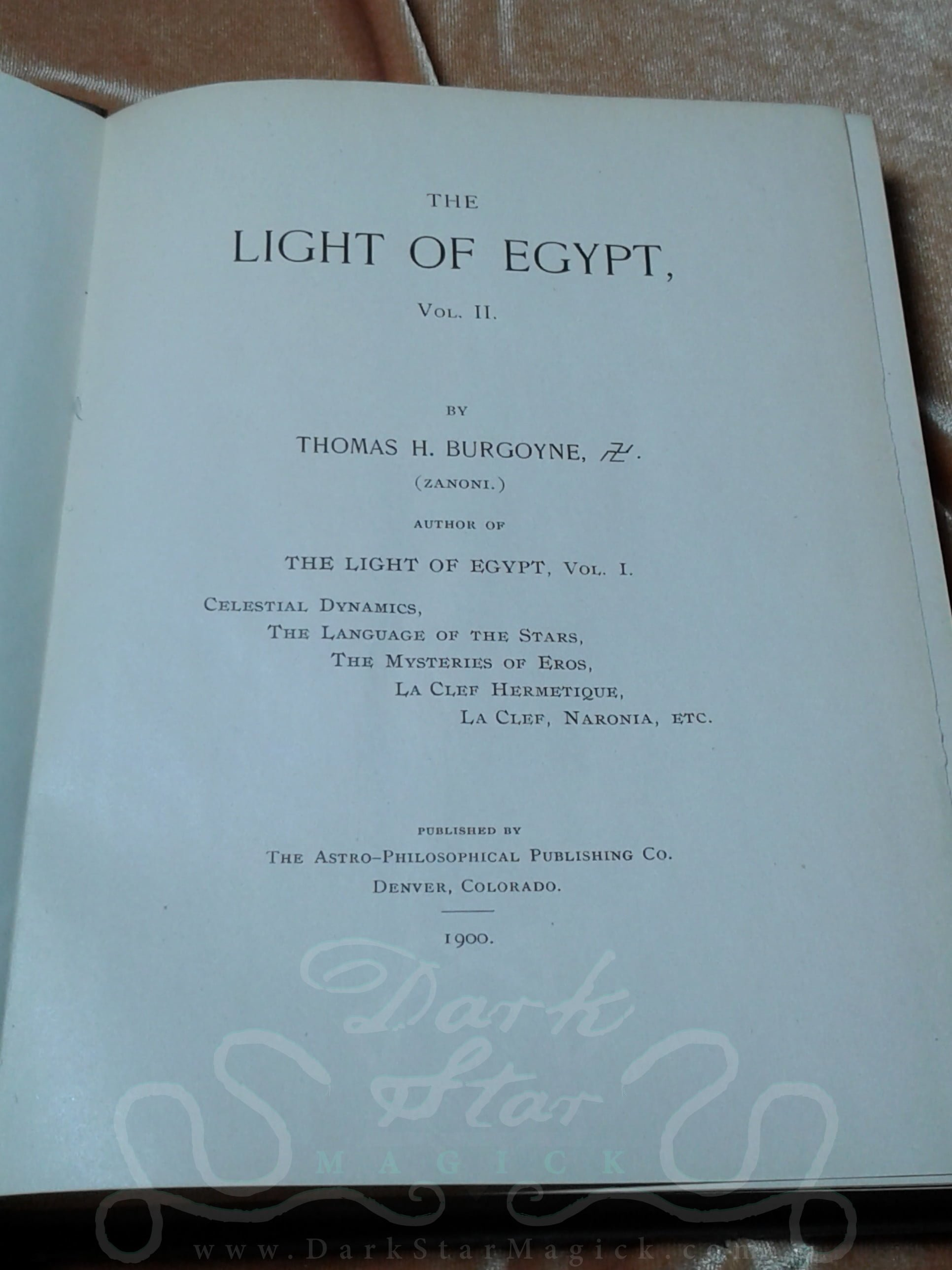 The Light of Egypt, Volume II (1900 - First Edition) ~ Dark Star Magick