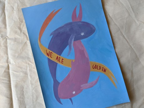 We Are Golden - Gouache Whale Painting