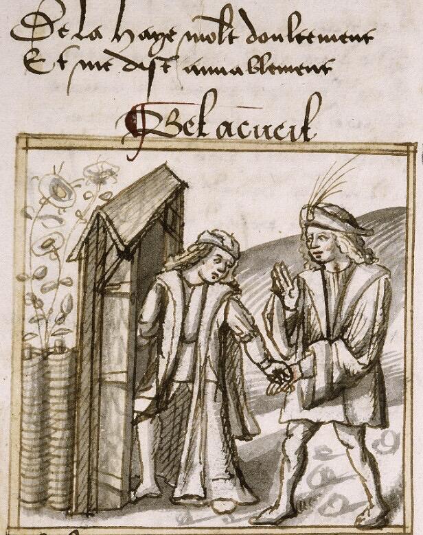 Bel Accueil offrant à l'Amant de traverser la haie de roses, Ms. Palais des Arts 025 f. 017, Lyon