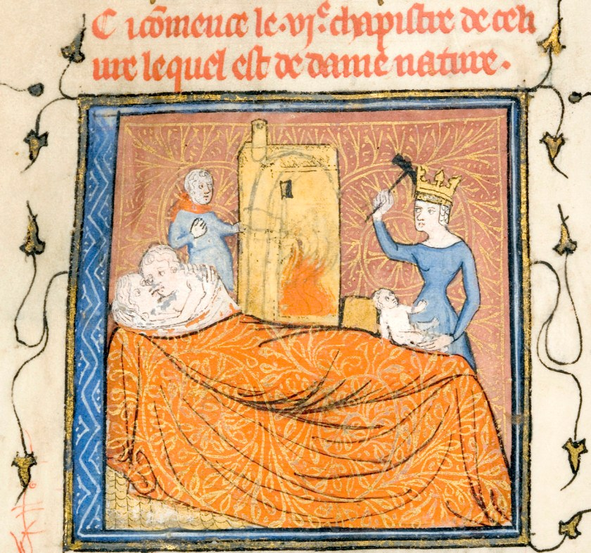 Roman de la Rose, Lady Nature forging offspring (detail), University of Chicago Library, Ms. 1380