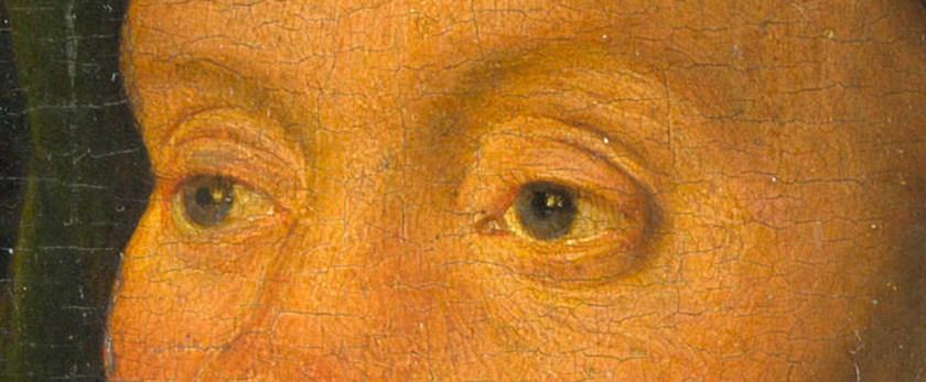 Jan van Eyck, Portrait of a Man ('Léal Souvenir')(detail eyes, before restoration), 1432, National Gallery London