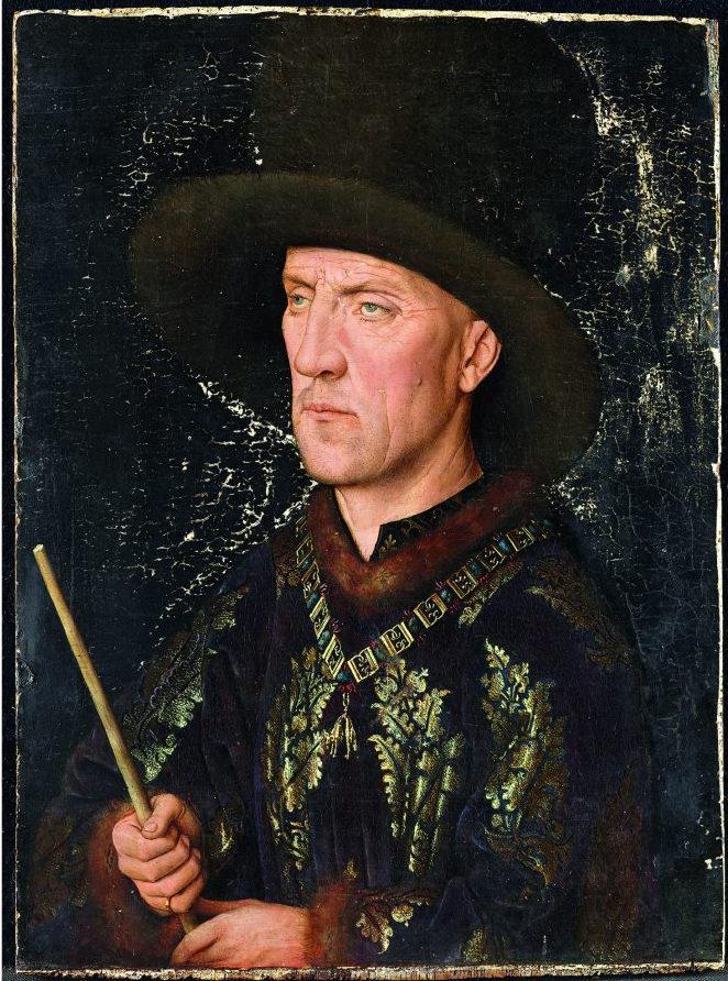 Jan van Eyck, Portrait of Boudewijn van Lannoy (before and during restoration), 1435, Gemäldegalerie Berlin