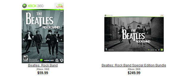 Gamestop shows The Beatles: Rock Band boxart - DarkZero