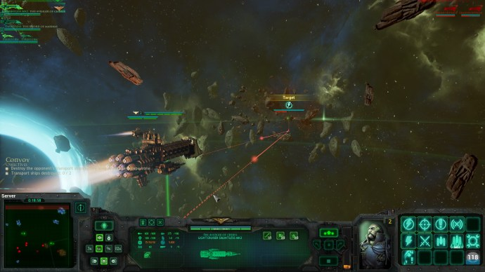 Chasing down Chaos transports. Battles are short and relatively small-scale compared to many RTS games.