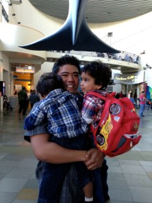 We had been waiting for my brother, and my boys pretty much threw themselves at him when they saw he was here.