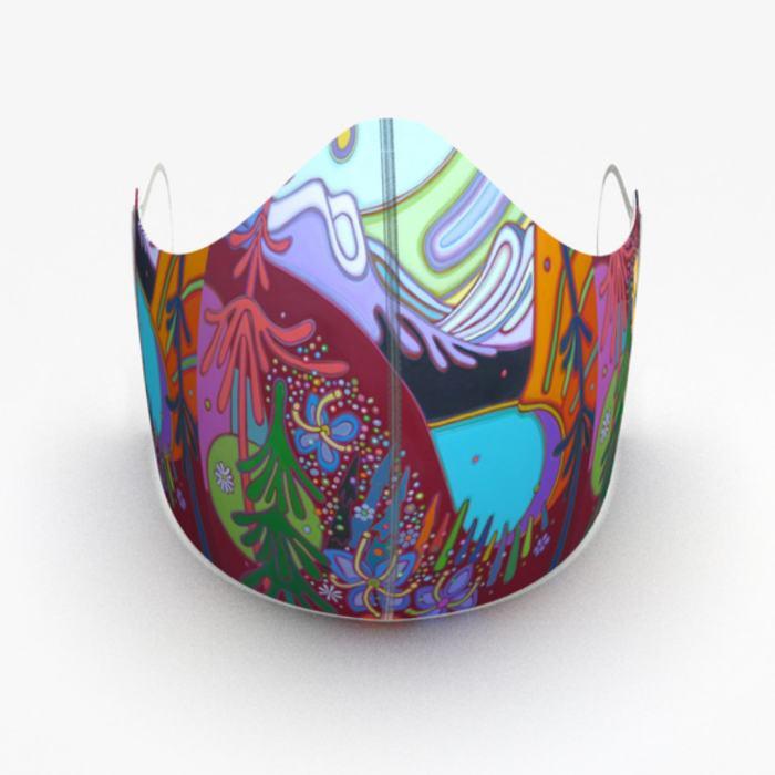 Darlene Kulig - Turquoise Lake with Wildflowers Face Mask