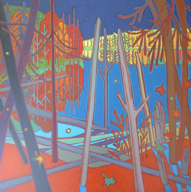 Autumn Colours - Blazing Autumn Colours across the Lake 36 x 36 - Darlene Kulig