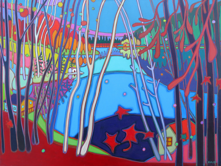 Autumn Colours - Boathouse across the Lake 40 x 30 - Darlene Kulig