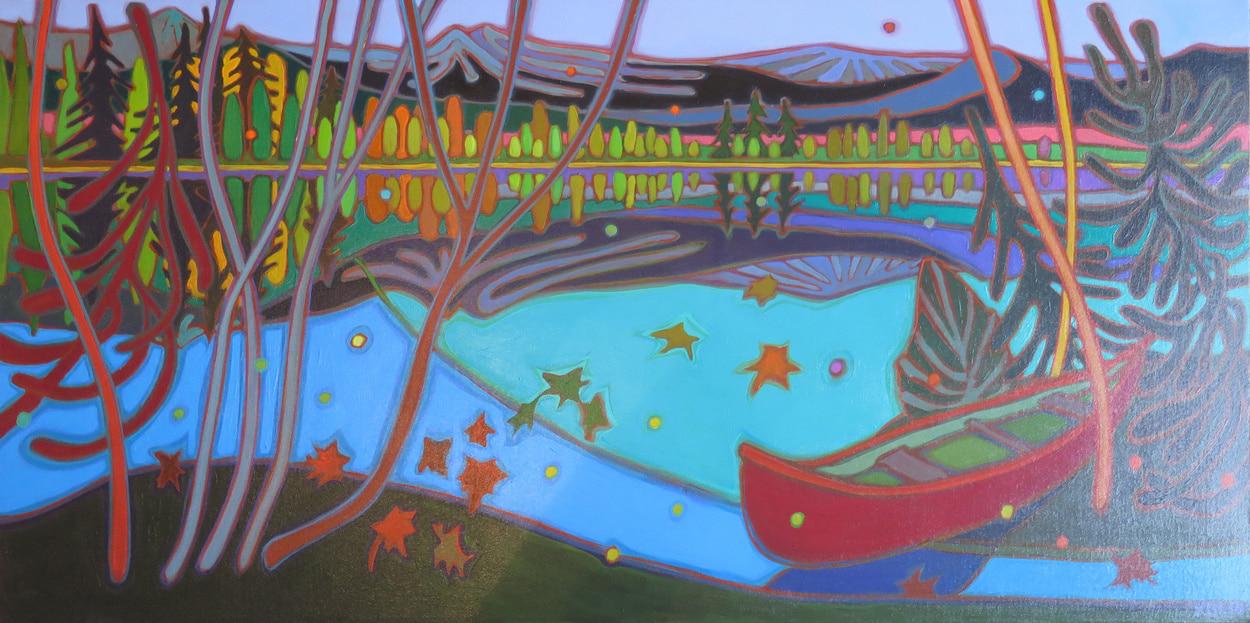Autumn Colours - Canoe Ride at Dusk 24 x 48 - Darlene Kulig