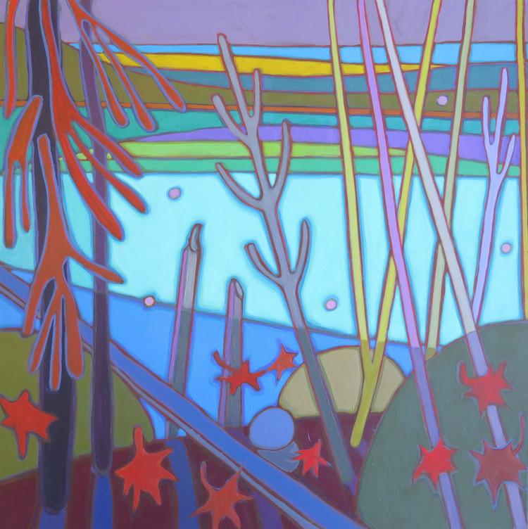 Autumn Colours - Dusk upon the Autumn Lake 24 x 24 - Darlene Kulig