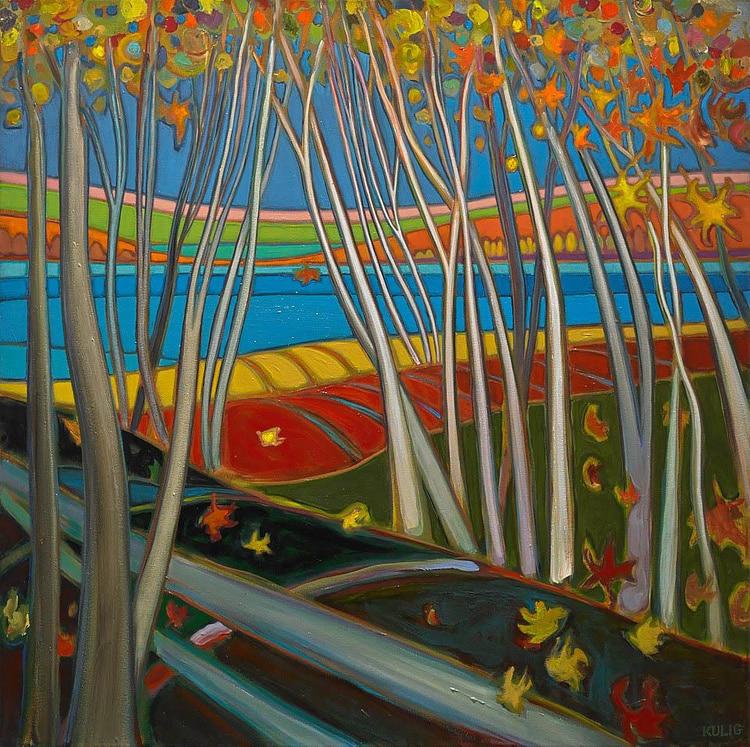 Autumn Colours - Fall Birch Above the Lake - Darlene Kulig