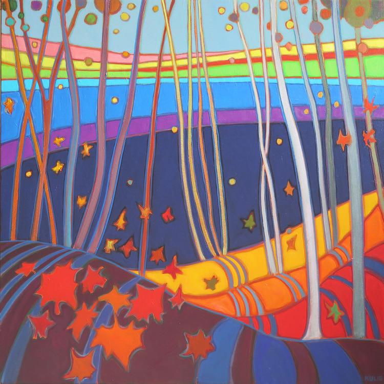 Autumn Colours - Fall Birch and Maple Glow 30 x 30 - Darlene Kulig