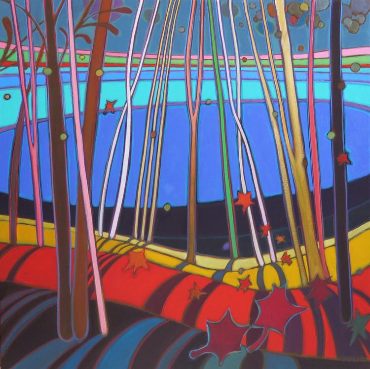 Autumn Colours - Fall Evening Lake Reflections 30 x30 - Darlene Kulig