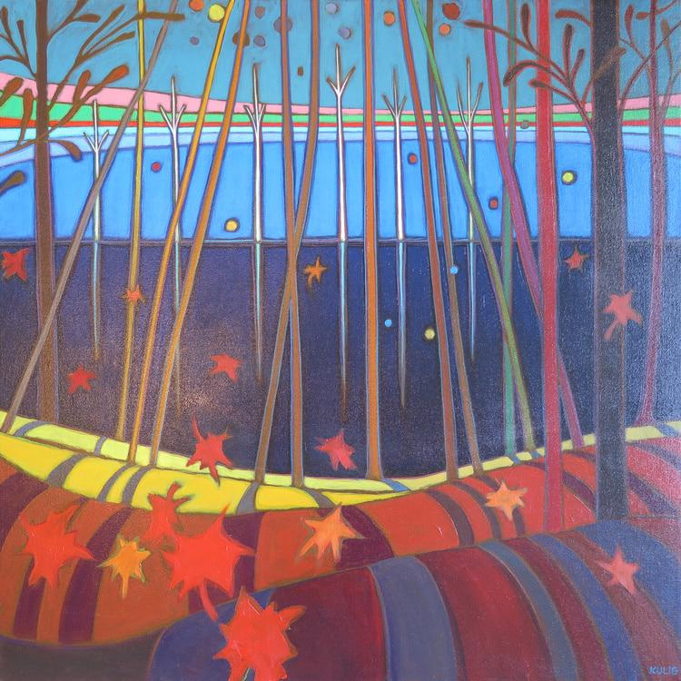 Autumn Colours - Fall Late Afternoon Shadows 30 x 30 - Darlene Kulig