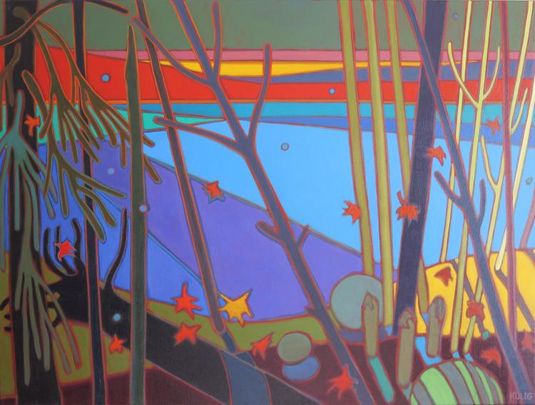 Autumn Colours - Fractured Light across the Lake 30 x 40 - Darlene Kulig